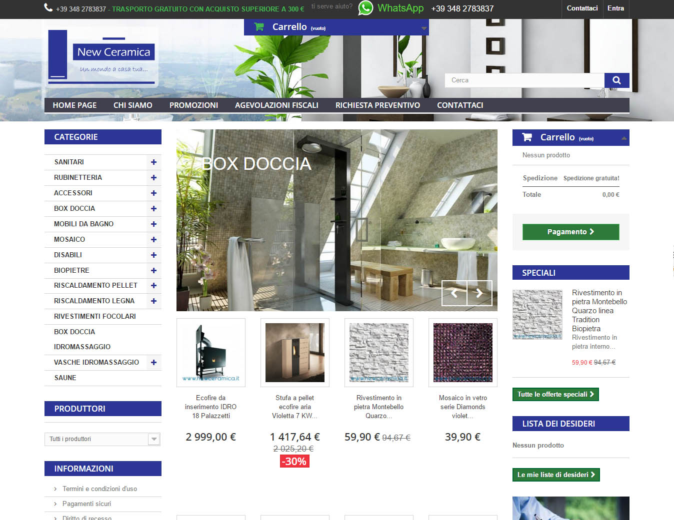 Newceramica website, design and E-commerce devolopment by Marilooweb